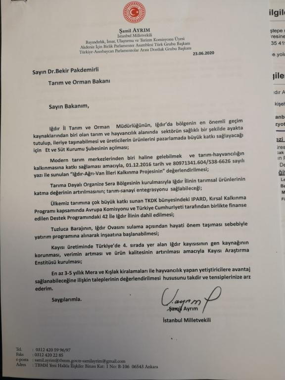 Milletvekili Ayrım'ın Tarım Bakanı Pakdemirli'den Talepleri