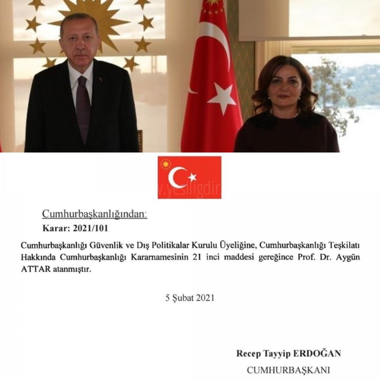 Prof. Dr. Aygün Attar, Cumhurbaşkanlığı Güvenlik ve Dış Politikalar Kurulu Üyeliğine Atandı