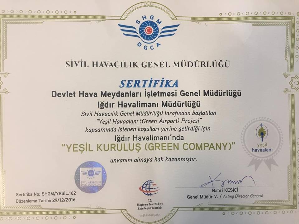 """IĞDIR HAVALİMANINA  """"YEŞİL KURULUŞ""""  UNVANI"""
