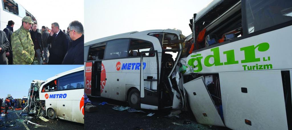 İki otobüs kafa, kafaya çarpıştı 8 ölü