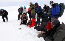 Gazeteciler, buzla kaplı Çıldır Gölü'nde kamp yaptı