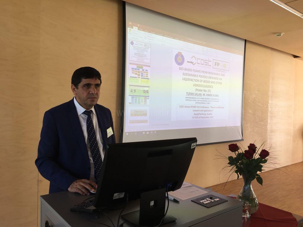 """Rektör Alma,  Salzburg'da Düzenlenen """"3. Uluslararası Ahşap Modifikasyon Araştırması ve Uygulamaları Konferansı""""na Katıldı"""