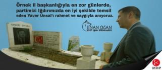 MHP Iğdır Milletvekili Dr. Sinan OĞAN'ın, Yaver ÜNSAL'ın Vefatının 16. Yıldönümüne İlişkin Mesajı